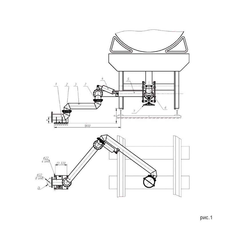 Установки нижнего слива-налива УСН-150 (УСН-150/5Пп) с четырьмя шарнирами. рис.1.