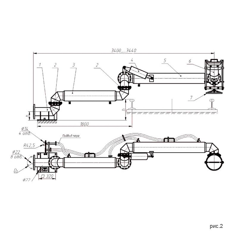 Установки нижнего слива-налива УСН-150 (УСН-150/5Пп) с четырьмя шарнирами. рис.2.
