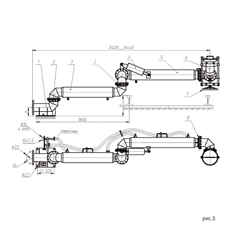 Установки нижнего слива-налива УСН-150 (УСН-150/5Пп) с пятью шарнирами. рис.3.