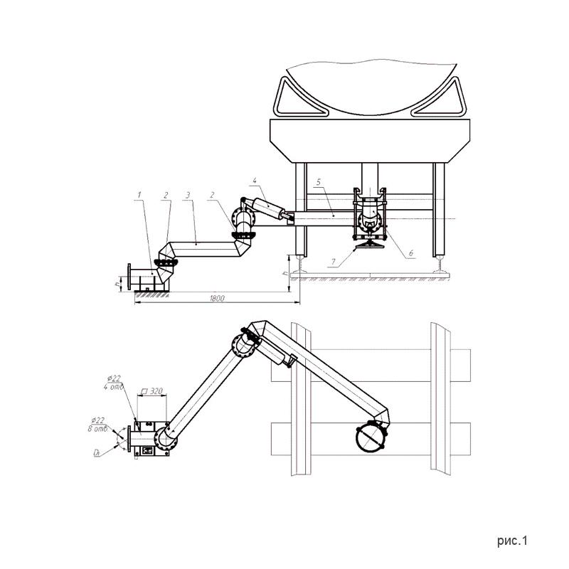 рис.1. Установки слива-налива УСН-175 (УСН-175/5Пп) с четырьмя шарнирами