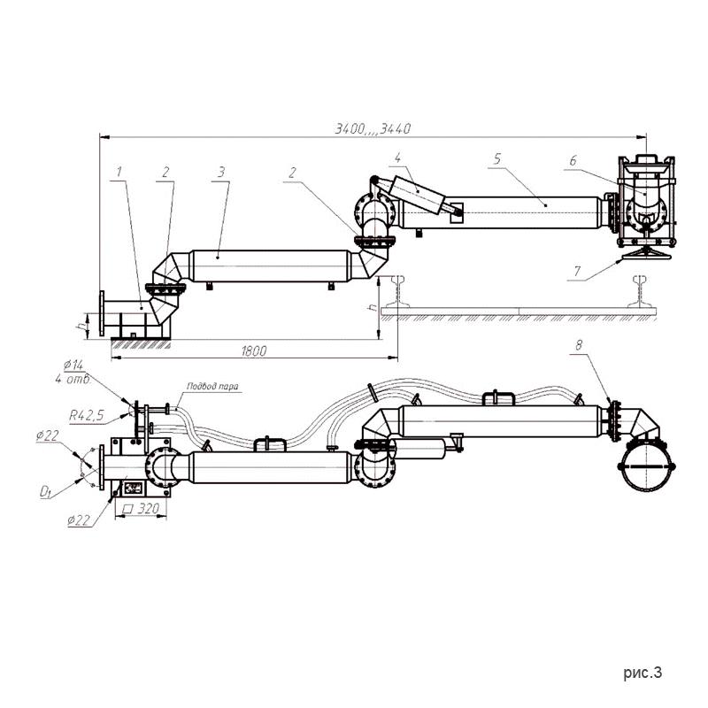 рис.3. Установки слива-налива УСН-175 (УСН-175/5Пп) с пятью шарнирами