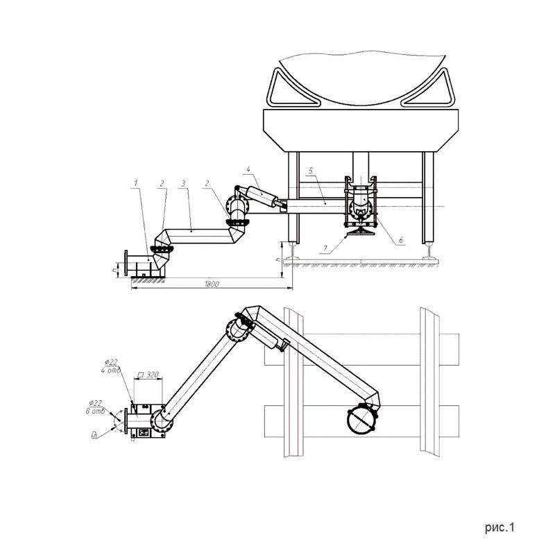 рис.1. Установки нижнего слива-налива УСН-200 (УСН-200/5Пп) с четырьмя шарнирами