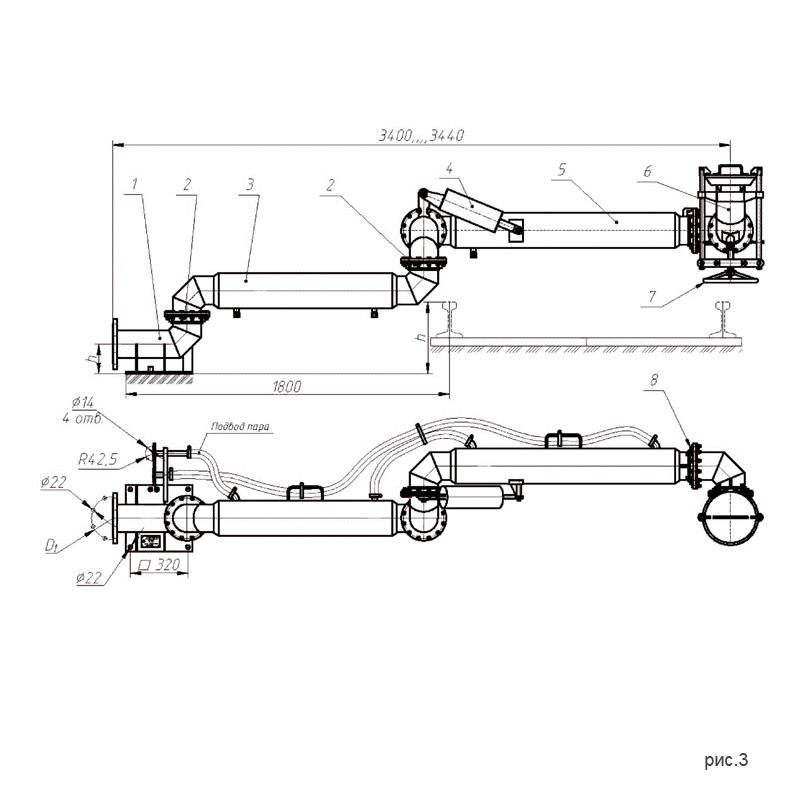 рис.3. Установки нижнего слива-налива УСН-200 (УСН-200/5Пп) с пятью шарнирами